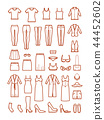 Womens clothing, female fashion line vector icons set 44452602