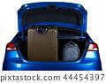 Luggage in blue modern sedan car trunk 44454397