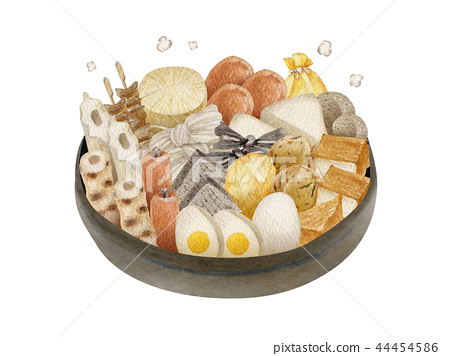 Oden hot pot steamy watercolor illustration 44454586