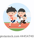 Young man and woman jogging marathon in racetrack 44454740