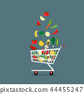 vegetables in shopping cart Flat Style Vector 44455247