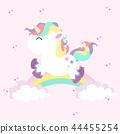 Unicorn mini with rainbows in colored pastel 44455254