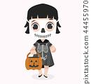 kid Halloween character  wearing skeletom costume 44455970
