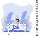 woman sitting bench nature background 44456260