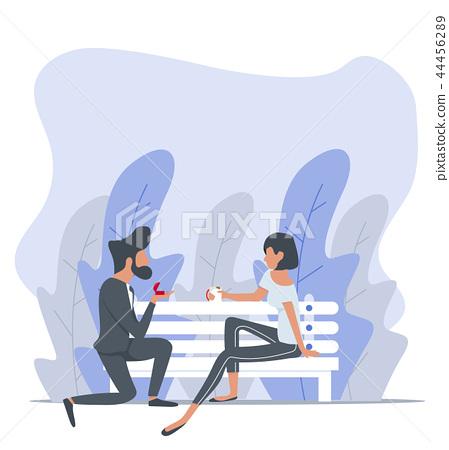 Man proposing to a woman sitting bench  44456289