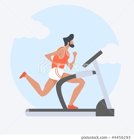 man attractive  running on treadmill 44456293