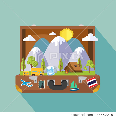 Open suitcase with Camping Travel Landscape island 44457210