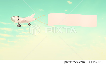 Airplane model with empty banner mock-up 44457635