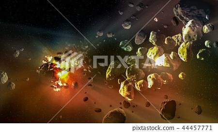 Meteorites in a deep space, science fiction fantas 44457771