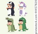 Set of cartoon little kid in Animals costumes 44457820