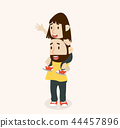 Happy Father Carries with Daughter On Shoulders 44457896