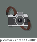 Retro camera in a flat style with strap 44458005