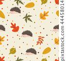 Autumn leaf pattern with hedgehog 44458014