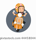 Bearded man hipster riding a motorbike 44458044