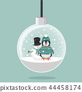 Penguin in winter Snowman with christmas ball 44458174