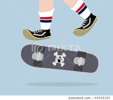 Skateboarder with skateboard vector 44458185