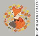 orange  fox with leaves decoration circle design 44458667