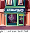 Street cafe in city house facade cartoon vector 44459051