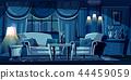 Vector cartoon living room at night, interior 44459059