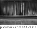 Black and white curtains and wooden stage. 44459311