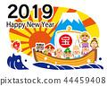 2019年新年快樂七幸運神寶船模板 44459408