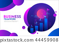 Flat Business People Climbing Up The Graph Stairs. Career Ladder with Characters. Team Work 44459908