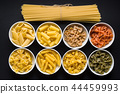 Various types of italian pasta. 44459993