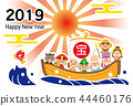 2019 happy new year coming light seven treasure god ship template 44460176