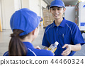 遞飲料的女性送貨工作者對男性送貨工作者 44460324