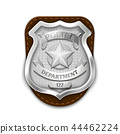 Silver steel police, security badge isolated on white background vector illustration 44462224