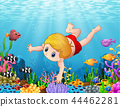 Little boy swimming under the sea 44462281