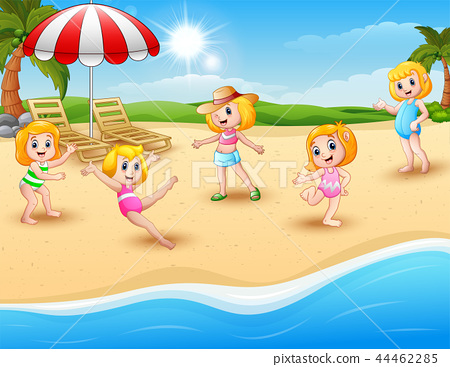Happy kids playing on the beach 44462285