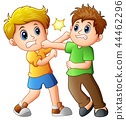 Vector illustration of two boys fighting 44462296