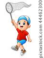 Cartoon boy with a net 44462300