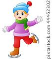 Vector illustration of Boy playing ice skating  44462302
