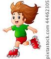 Cartoon girl playing roller skates 44462305