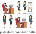 Office businesswoman in various situations vector characters cartoon flat set 44462487