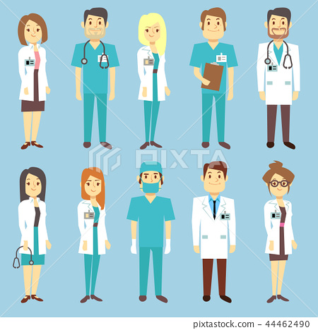 Doctors nurses medical staff people vector characters in flat style 44462490