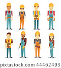 Builder contractor man and female worker vector people character set 44462493
