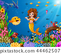 Vector illustration of Cartoon mermaid underwater 44462507