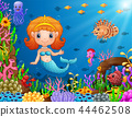 Cartoon little mermaid underwater 44462508