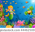 Cartoon mermaid underwater with turtle and octopus 44462509