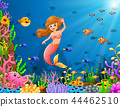 Cartoon mermaid underwater 44462510