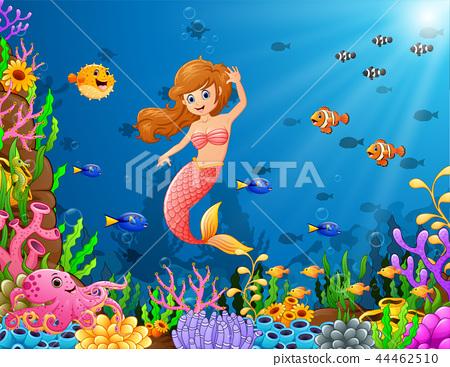 Cartoon mermaid underwater 44462510