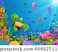 Cartoon turtle and octopus underwater 44462511