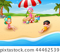 Children sunbathing on the beach   44462539