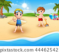 Children playing at the beach  44462542