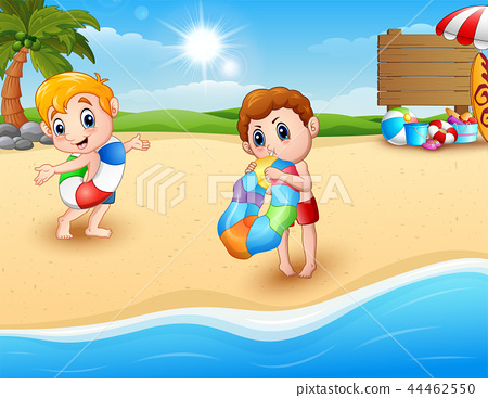 Children with inflatable ring at the beach 44462550