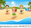 Boy playing guitar and hawaiian girl hula dancing  44462552