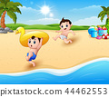Children playing inflatable duck at the beach 44462553